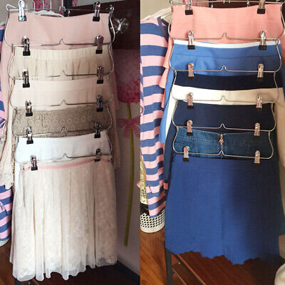 AU 6-Layer Tie Rack Hanger Foldable Closet Skirt Trousers With Clips Non-Slip 1X