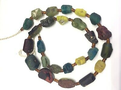 الزجاج الروماني  25 Ancient Roman Glass Old Round Beads Patina Strand CoMixe