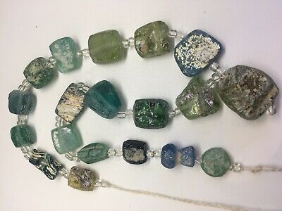 Ancient  Old Roman Glass Beads Square Mixed Size 19 pcs for Necklace