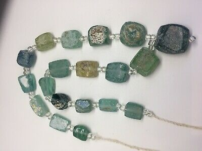 Ancient Roman Glass Old Square Beads 18th Century Necklace 19 pcs Mixed Roman