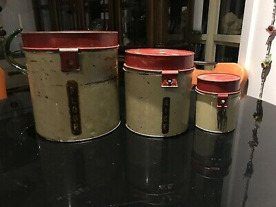 RARE VINTAGE WILLOW Like TIN CANISTERS - MID CENTURY DECO