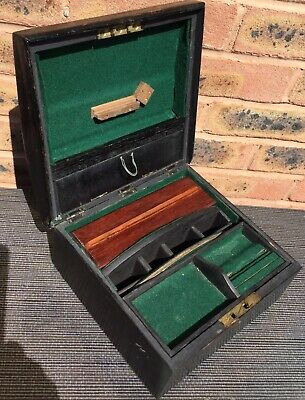 Antique Wooden Box Writing Slope Caddy Jewellery Trinket Marquetry Tools Vintage