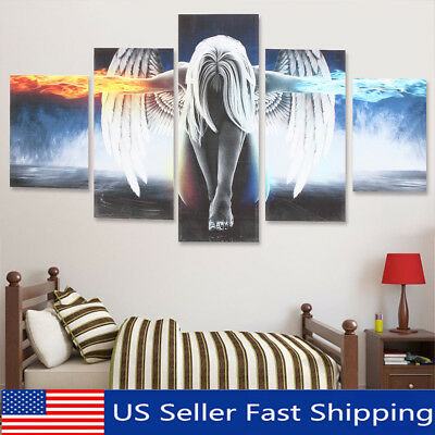 5Pcs Modern Angel Ice&Fire Canvas Print Art Painting Wall Picture Home Decor CA