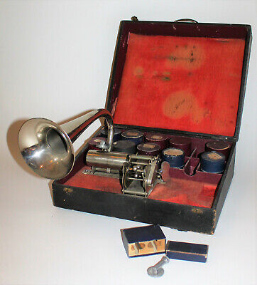 Rare Pathe Cylinder Phonograph Outfit with Hunting Horn Cylinders Carrying Case