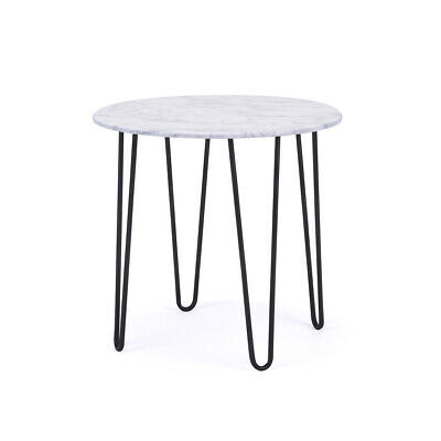 Birlea Mila Modern Side Table - White Marble Effect Top Black Metal Hairpin Legs
