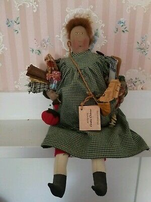 """GRETA CHIRCO Artist Made OOAK Primitive DOLL 16"""" sewing companion quilter"""