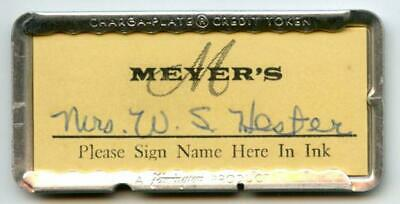 Vintage Charge Plate Credit Card Meyer's Department Store Greensboro NC