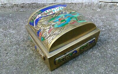 Antique Brass Enamel Chinese Oriental Mystical Beasts Fighting Decorated Box