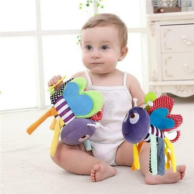 Baby Rattle Ring Bell Toy Soft Plush Bee Crib Bed Hanging Animal Teether FM