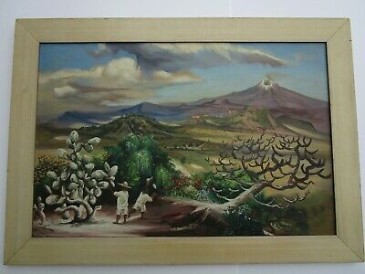 Antique Vintage Painting Ecuador Landscape W Volcano Mystery Artist 1940'S Old