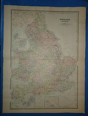 Vintage 1894 ENGLAND - WALES Old Antique Original Atlas Folio Size Map