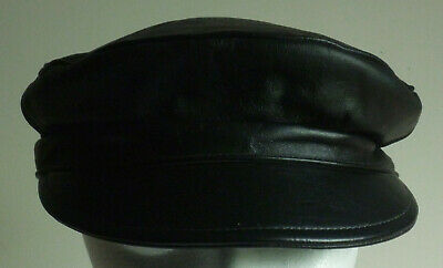 90eaa20e6eaeb VINTAGE BLACK LEATHER Harley Davidson Captain Hat Small Excellent ...
