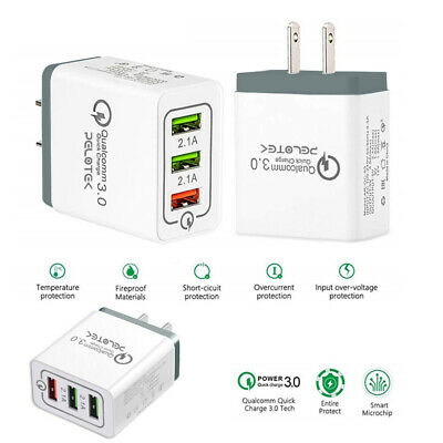 Qualcomm Certified Quick Charge 3.0 - Fast USB Wall Adapter- Micro USB Charger