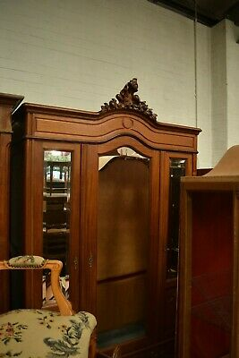 French Louis Stlye Carved Mirrored Armoire Wardrobe