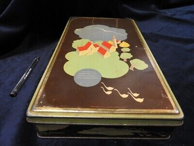 Box in Tin Candy Sweets Macaroons Advertising Pattern Futuristic Vintage LV