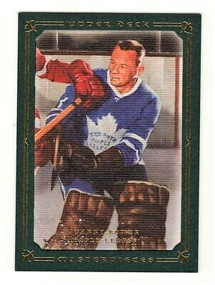 Johnny Bower Toronto Maple Leafs 2008-09 UD Masterpieces Hockey Card 25/99