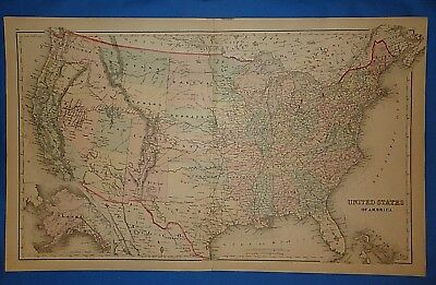 Vintage 1876 WESTERN TERRITORIES of UNITED STATES MAP Old Antique Original Map