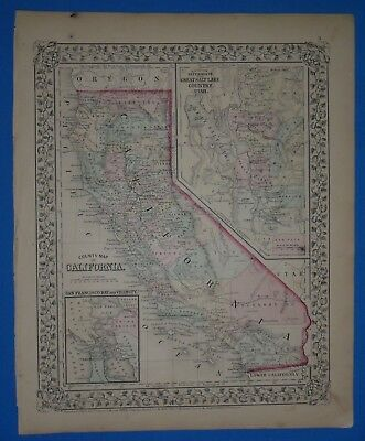 Vintage 1868 CALIFORNIA - SALT LAKE Atlas Map Old Antique Original 10119