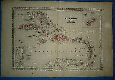 Vintage 1873 CARIBBEAN WEST INDIES MAP Old Antique Original Johnson Atlas Map