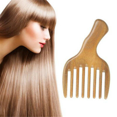 Massage Comb Wood wide Tooth Sandalwood Pocket Smooth Small Hair Brush FM