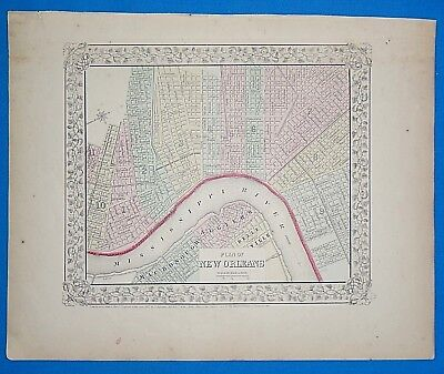 Vintage 1868 NEW ORLEANS, LOUISIANA Atlas Map ~ Old Antique Original 10119