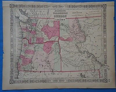 Vintage 1864 WASHINGTON TERRITORY OREGON Map Old Antique Original Johnson Atlas