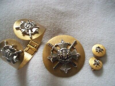 Vintage BERGERE silver SHIELD & LION brushed gold tone 3 pc SET, cuff, pin,ears