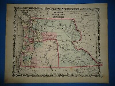 Vintage 1862 WASHINGTON TERRITORY  Map ~ Old Antique Original Johnson's Atlas