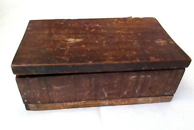 Antique Primitive Trinket Box Wood Handmade With Leather Strap Hinges