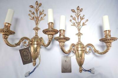 Vintage NEW Pair Gilt Bronze French Louis XVI Style Wall Sconces~Luminaire d'Art