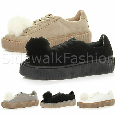 Womens ladies platform flatform pom pom lace up trainer creepers shoes size
