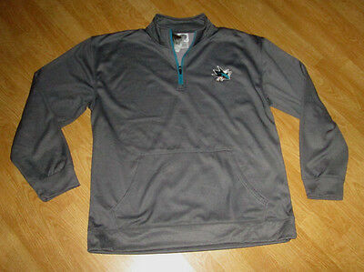 NWT Men's NHL San Jose Sharks Gray/Teal 1/4 Zip Pullover Jacket/Top Size LARGE