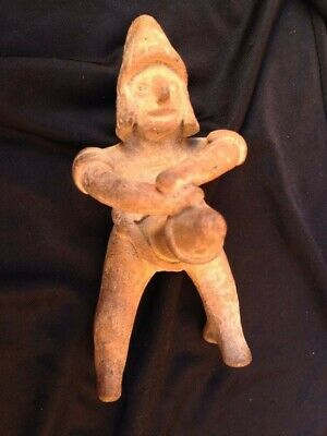 Ancient Stone Carved Whistle Male Figurine from Mexico