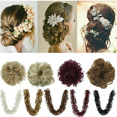 Tousled Updo Messy Ponytail Bun Elastic Band Wrap On Hair Piece Straight Wavy