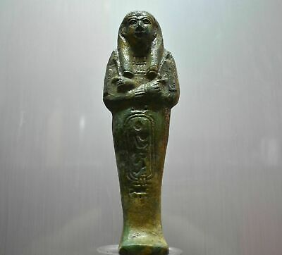 ANCIENT EGYPT ANTIQUE EGYPTIAN green faience USHABTI 24 cm