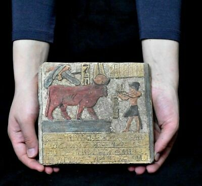 ANCIENT EGYPT ANTIQUE Egyptian plaque Hathor as a cow Stela Relief