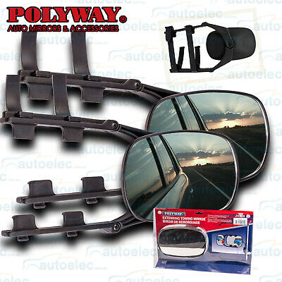 2X Towing Mirrors Wide Universal Adjustable Multifit Clip On Fit Caravan Boat