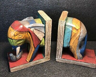 A Pair Of Lovely Rustic Carved Wood Wooden ELEPHANT Book Ends