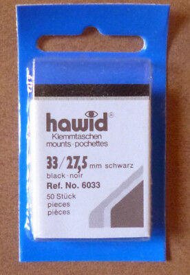 HAWID STAMP MOUNTS BLACK Pack of 50 Individual 33mm x 27.5mm - Ref. No. 6033