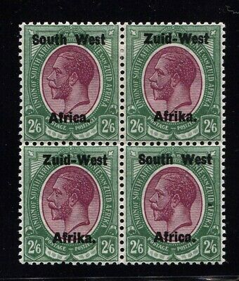 South West Africa 1923 Type 1 2/6 Block