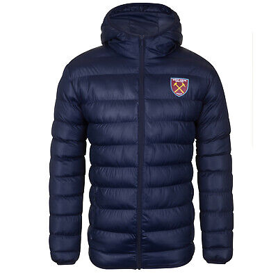 West Ham United FC Official Football Gift Mens Quilted Hooded Winter Jacket