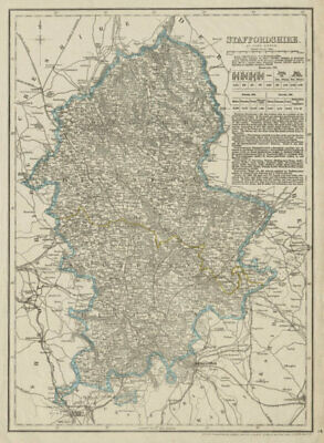 STAFFORDSHIRE antique county map. Showing exclave & railways. DOWER 1863
