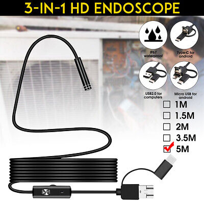 5M 7mm 6LED Android Endoscope Waterproof Snake Borescope USB Inspection Camera