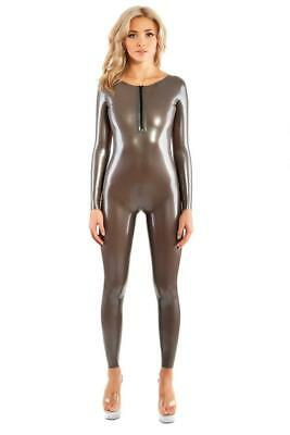 Latex Catsuit Rubber Gummi Neck Zip Low Back Sexy Dress Tights Customized 0.4mm