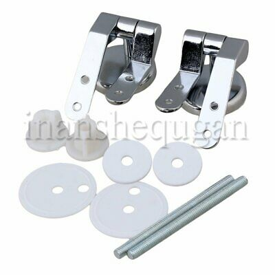 2pcs Alloy Toilet Seat Hinge w/ Threaded Rod for Wooden Resin MDF Seat