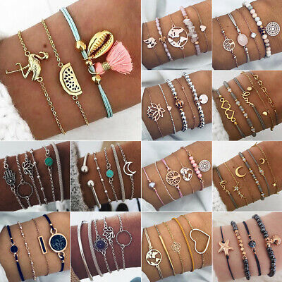 Fashion Women Jewelry Set Rope Natural Stone Beaded Chain Alloy Bracelets Gift