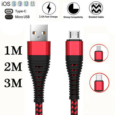 Heavy Duty Braided Long Charging Micro USB Sync Charger Cable Samsung 1M 2M 3M