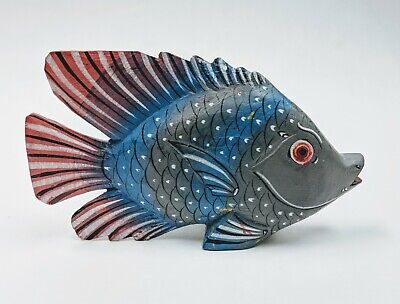 """Vintage Hand Carved & Painted Folk Art Wooden Fish 6"""" x 3 3/4"""" gray, blue & red"""