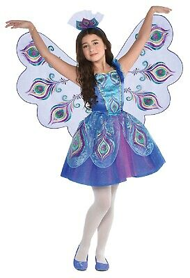 Girls Colorful Peacock Bird Carnival Fancy Dress Costume Outfit & Wings 3-10Yrs