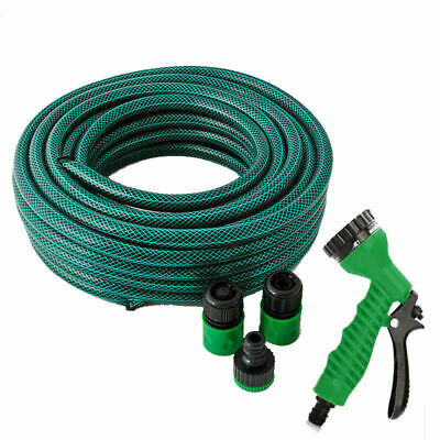 Kingfisher 30m Reinforced 3 Layer Braided Garden Hose Pipe And Spray Gun Set New
